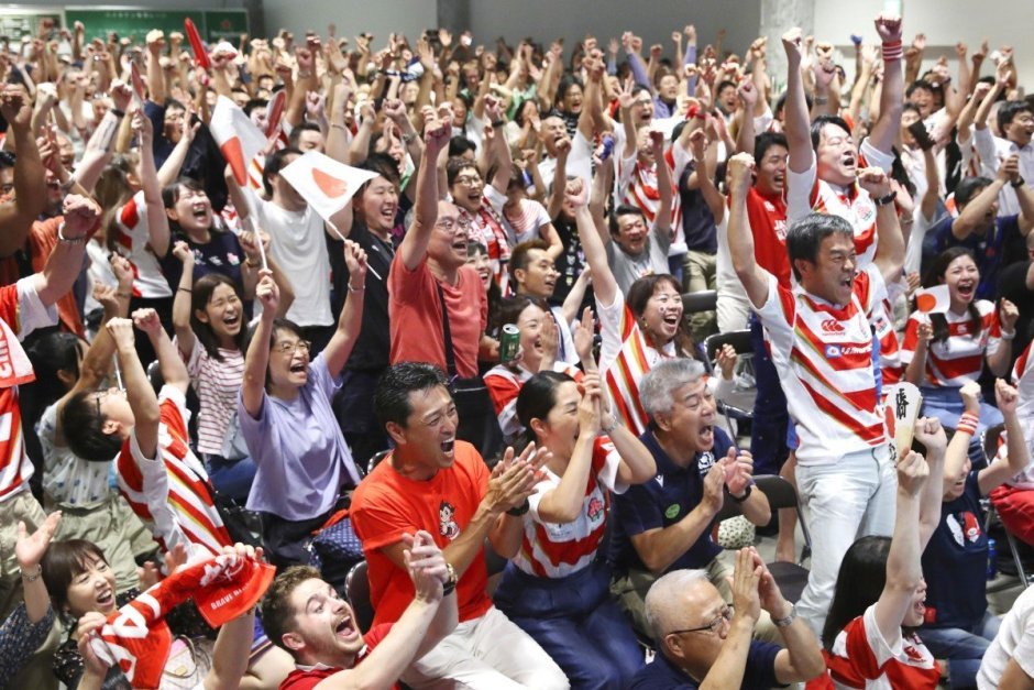 Rugby Fans go wild after Japan defeats Ireland_Kyodo
