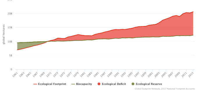 Graph showing the biological carrying capacity of the Earth over time