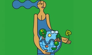 Drawing of woman saving the planet