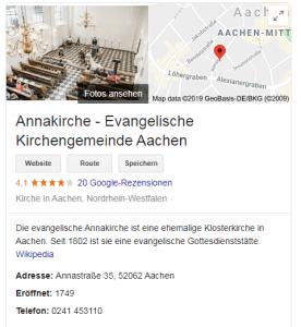 Annakirche in Aachen auf Google nach Datenkonsolidierung