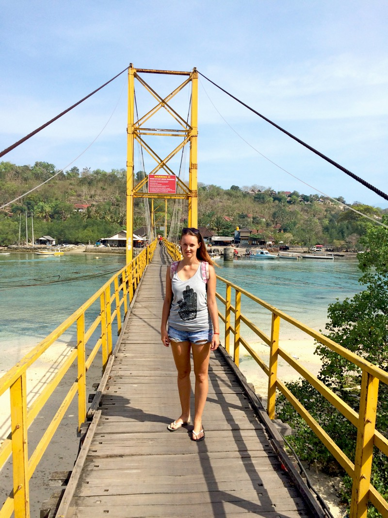 Suspended bridge between Lembongan and ceningan island