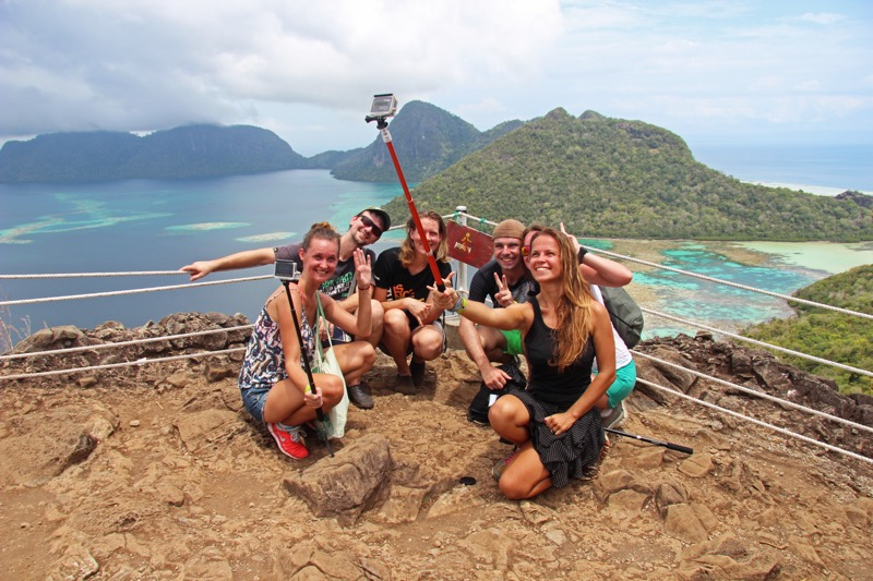 Slovak and Czech crew at the top of Bohey Dulang island