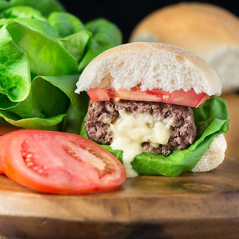 Homemade Stuffed Cheese Burgers