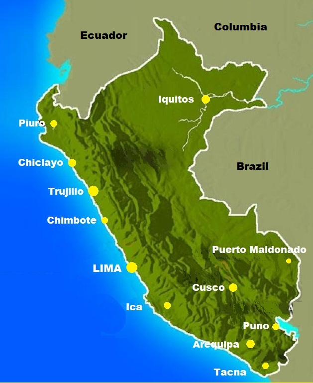 Image result for peru map cities