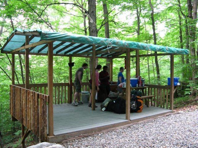 Tarped platform Malouf's Campground