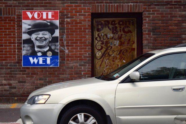 Al Smith Election Poster Hudson Valley Kingston brick wall