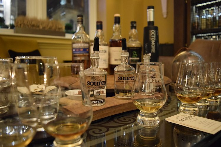 Edinburgh scotch tasting at The Balmoral Hotel featured 5 different scotch whiskies