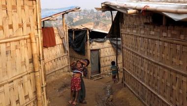 Rohingya refugee children react at Kutupalong refugee camp, near Cox's Bazar