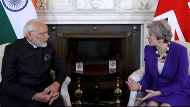 Britain's Prime Minister Theresa May holds a bilateral meeting with Narendra Modi, the Prime Minister of India, at 10 Downing Street in London