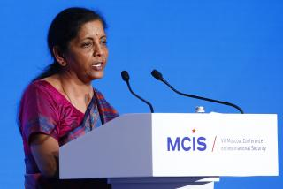 Indian Defence Minister Nirmala Sitharaman delivers a speech during the annual Moscow Conference on International Security in Moscow