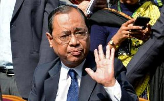 Ranjan Gogoi, a Supreme Court judge, gestures as he addresses the media at a news conference in New Delhi