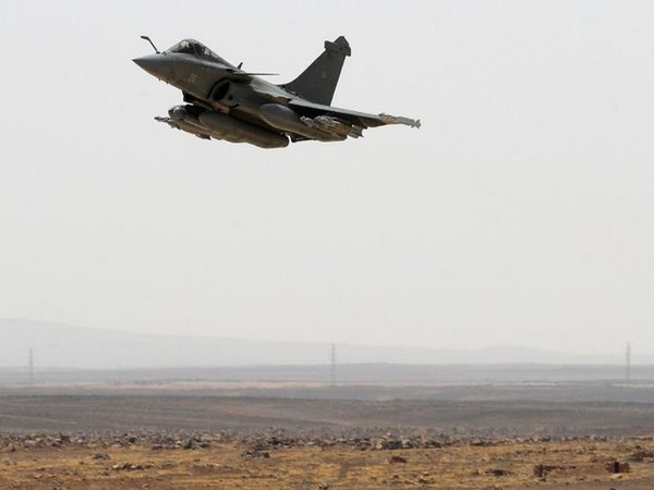 A Rafale jet fighter takes off from an airbase in Jordan