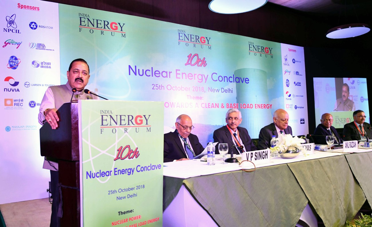 Dr. Jitendra Singh addressing at the inauguration of the 10th Nuclear Energy Conclave on the theme Nuclear Power Towards a Clean & Base Load Energy_, in New Delhi on October 25, 2018-p