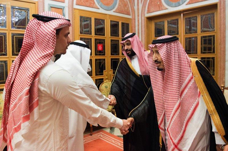 Saudi Crown Prince Mohammed bin Salman shakes hand with Salah Khashogi, son of Khashogi-AP