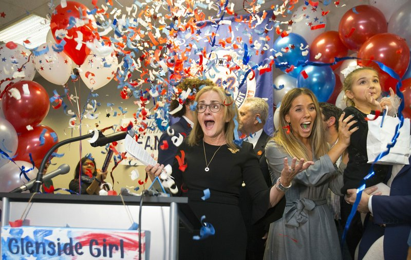 Democrat Madeleine Dean celebrates after winning Pennsylvania's 4th Congressional District race in Fort Washington-AP