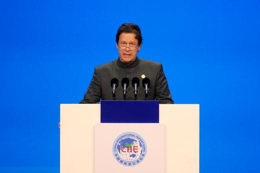 Pakistani Prime Minister Imran Khan speaks at the opening ceremony for the first China International Import Expo (CIIE) in Shanghai