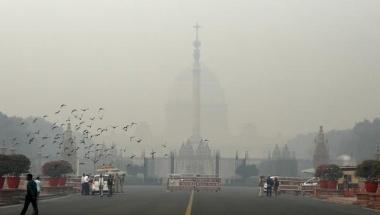 India's presidential palace Rashtrapati Bhavan is seen shrouded in smog in New Delhi