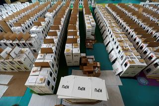 Ballot boxes for the upcoming Indonesia's general election are seen before they are distributed in Jakarta, Indonesia, April 12, 2019.
