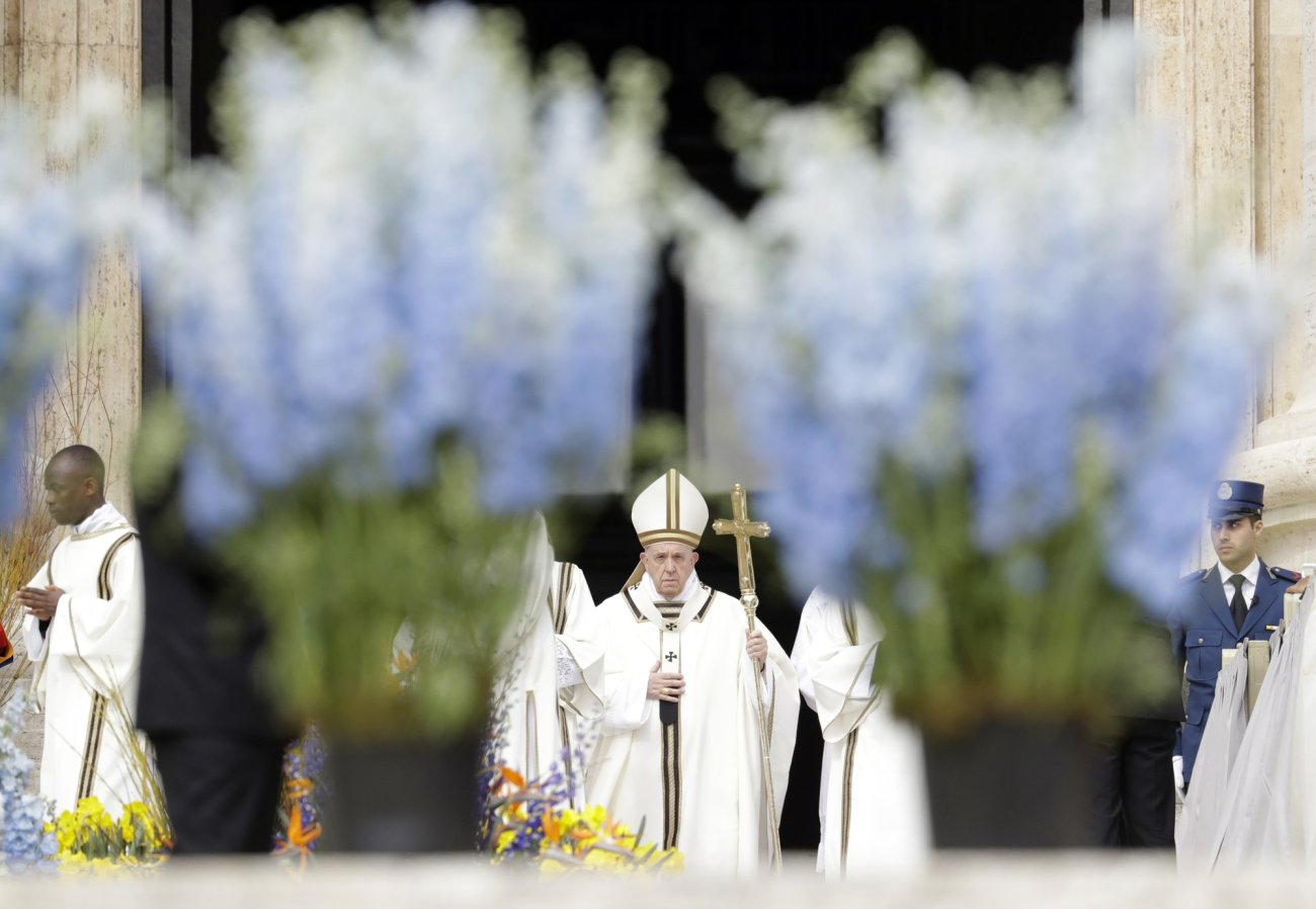 Pope Francis celebrates Easter Mass in St. Peter's Square at the Vatican, Sunday, April 21, 2019-AP