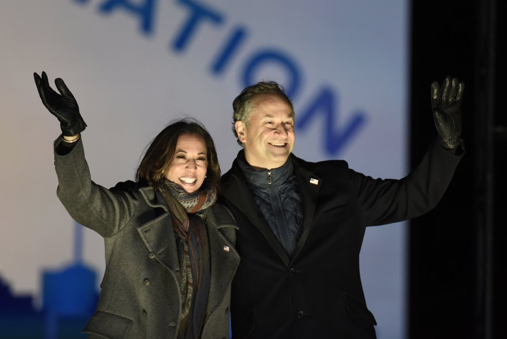 Democratic vice presidential candidate Sen. Kamala Harris and her husband Doug Emhoff