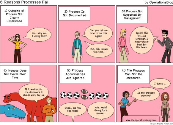 6 Reasons Processes Fail - Process Improvement Cartoon