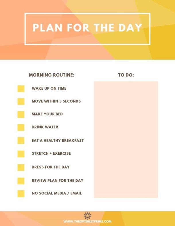 plan for the day freebie morning routine