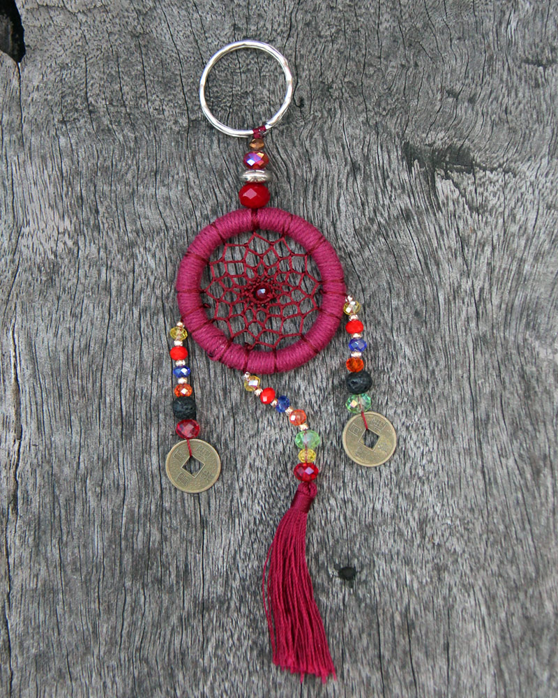 DREAM CATCHER KEY CHAIN: Burgundy