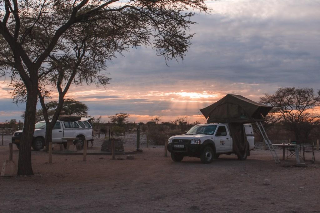 Kamperen in Etosha Park in Namibie
