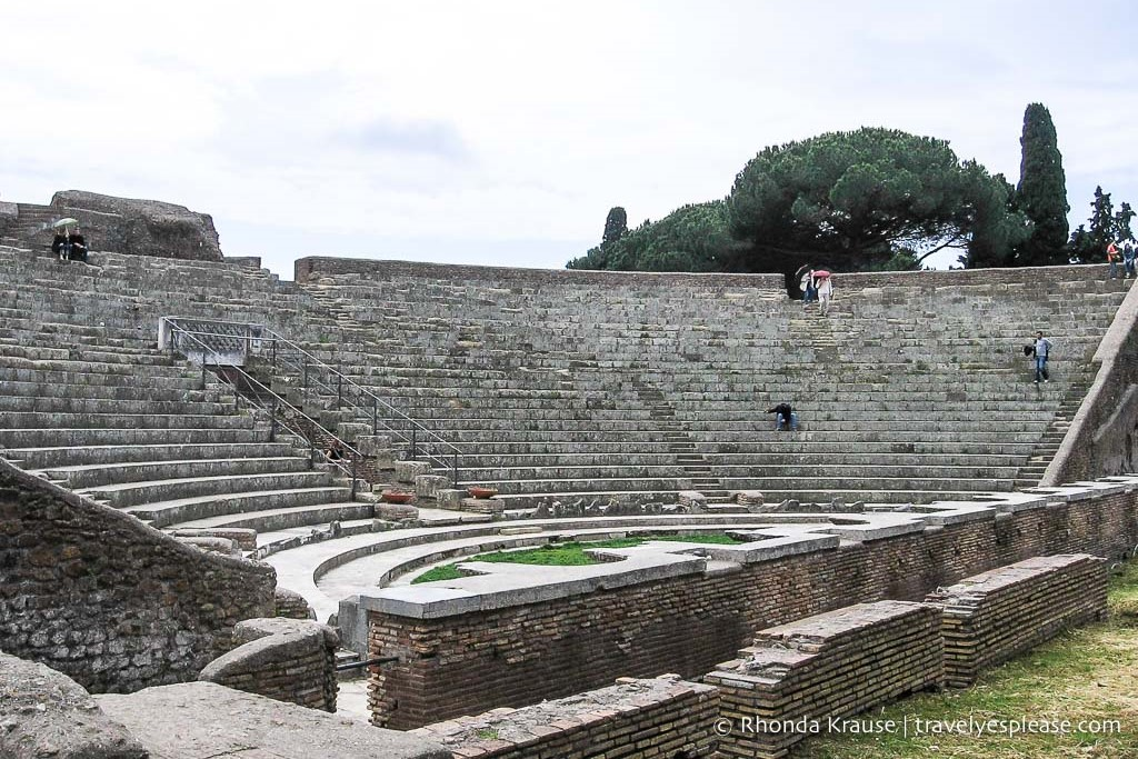 Lost city Ostia Antica roman ruins in Italy