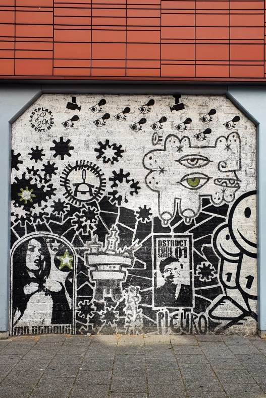 Black and White Street Art in Rotterdam by Mr Serious and London Police