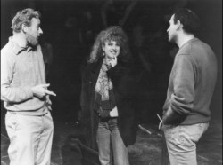 Stephen Sondheim, Bernadette Peters and James Lapine in rehearsal for the original Broadway production Photo by Photofest