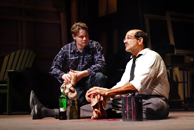 "South Coast Repertory presents ""Red"" by John Logan, directed by David Emmes. Cast: Mark Harelik (Mark Rothko) and Paul David Story (Ken). Segerstrom Stage, Jan. 22 - Feb. 21, 2016"