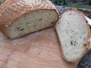 Wild garlic loaf sliced