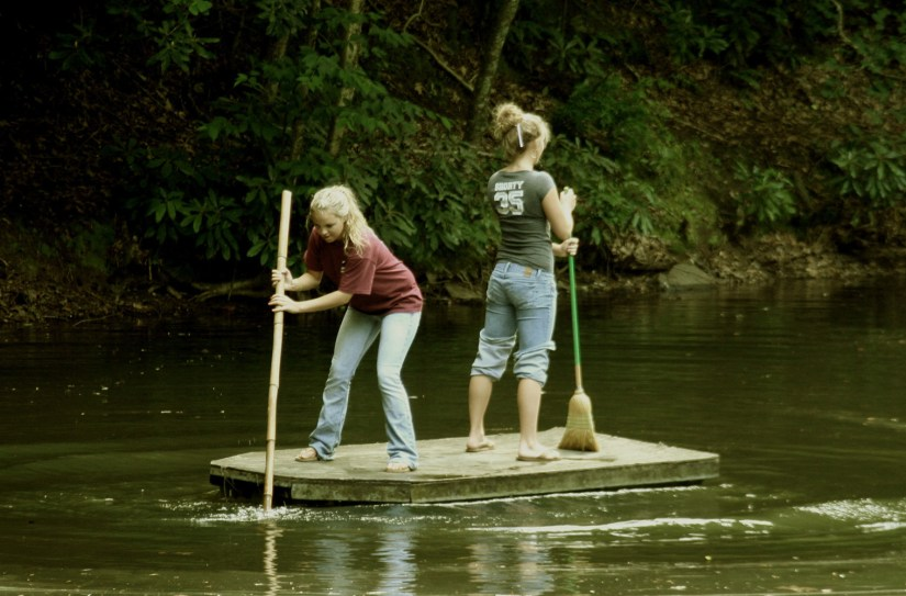 Two girls on a raft
