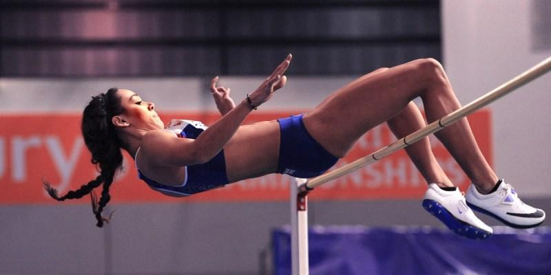 Katarina Thompson-Johnson clearing the high jump