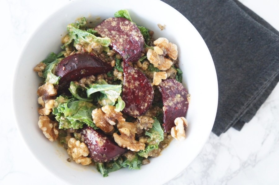Wintery Kale, Roasted Beet & Lentil Salad with Spicy Tahini Dressing