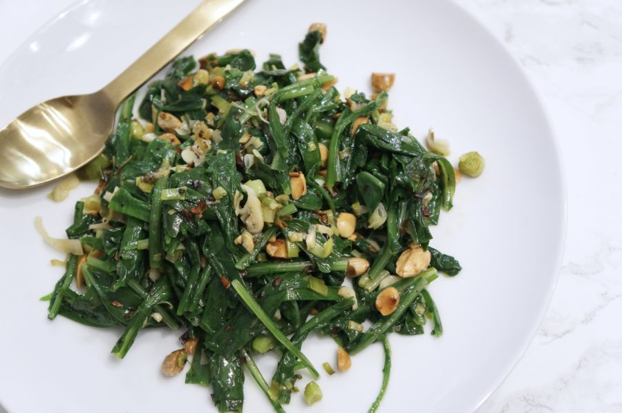 Wilted Dandelion Leaves with Garlic | The Organic Beauty Blog