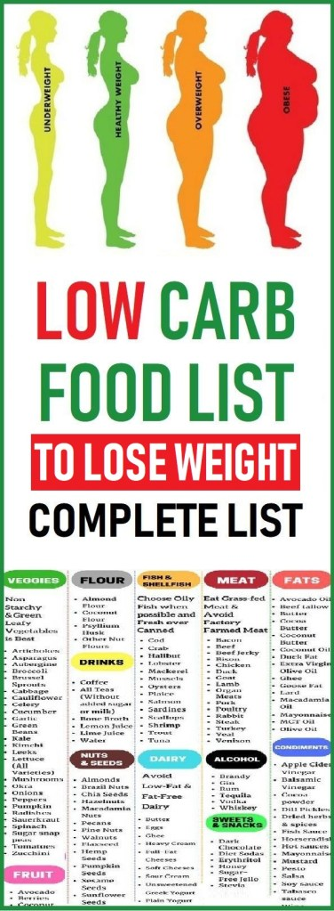 low carb food list for weight loss