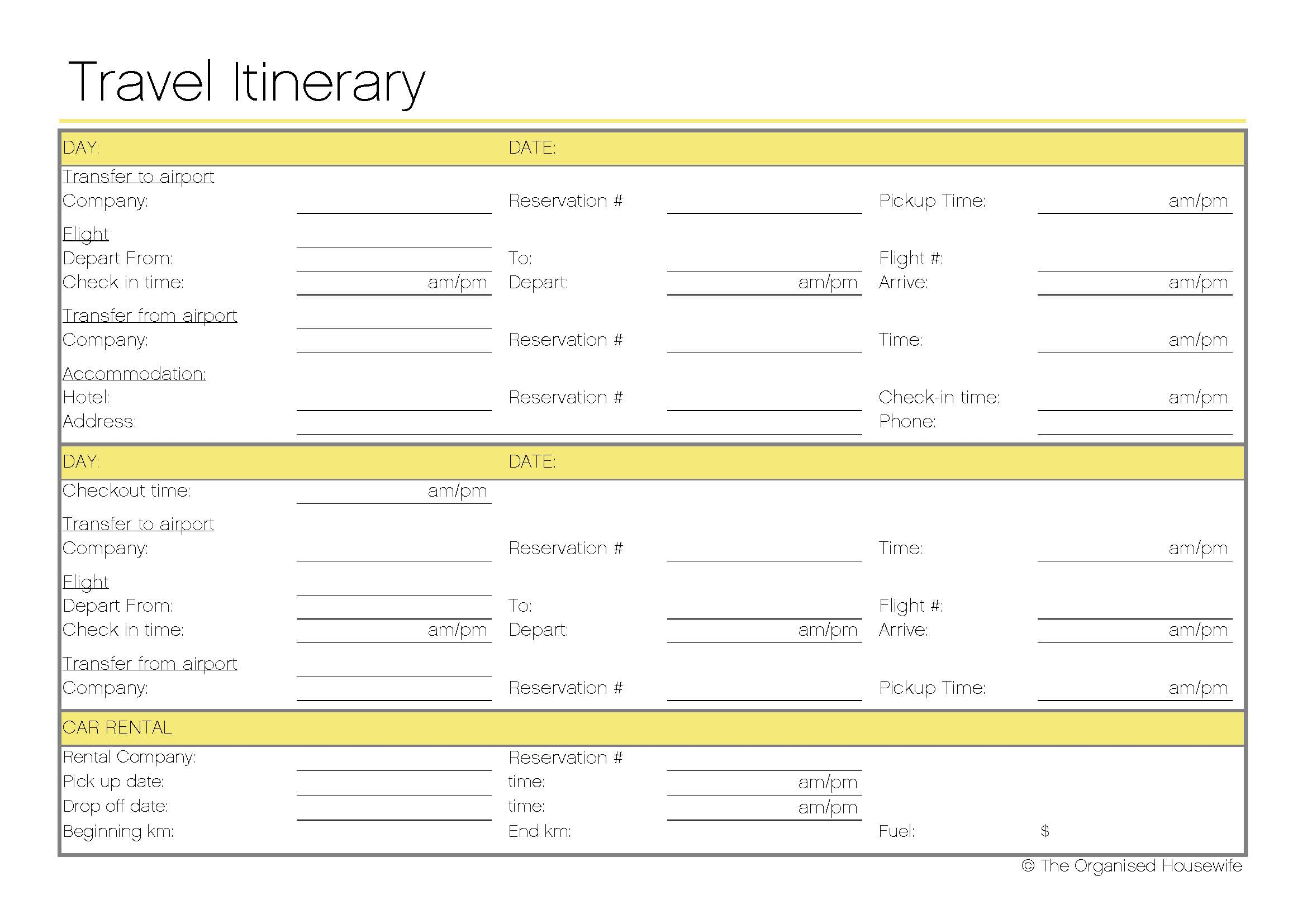 Travel Worksheet Template