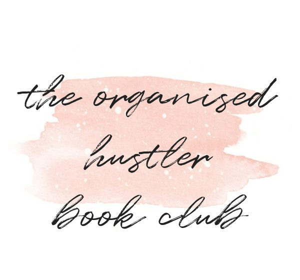 the organised hustler bookclub in black text on a white background with a pink centre