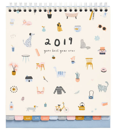 kikki k desk calendar with animals on the cover