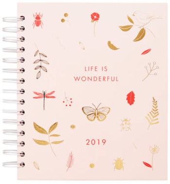 2019 WEEKLY DIARY LARGE: WONDERFUL style. Pink spiral design.
