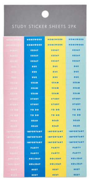 pink, navy, yellow and light blue stickers for studying