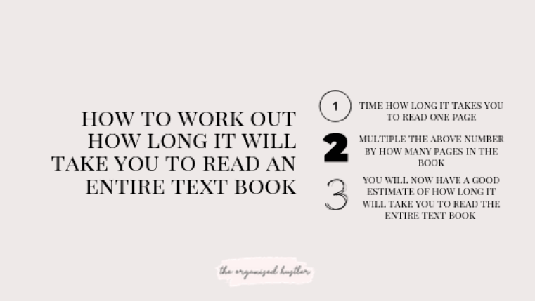 calculation to work out how long it will take you to read a text book