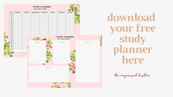 pink floral study planner