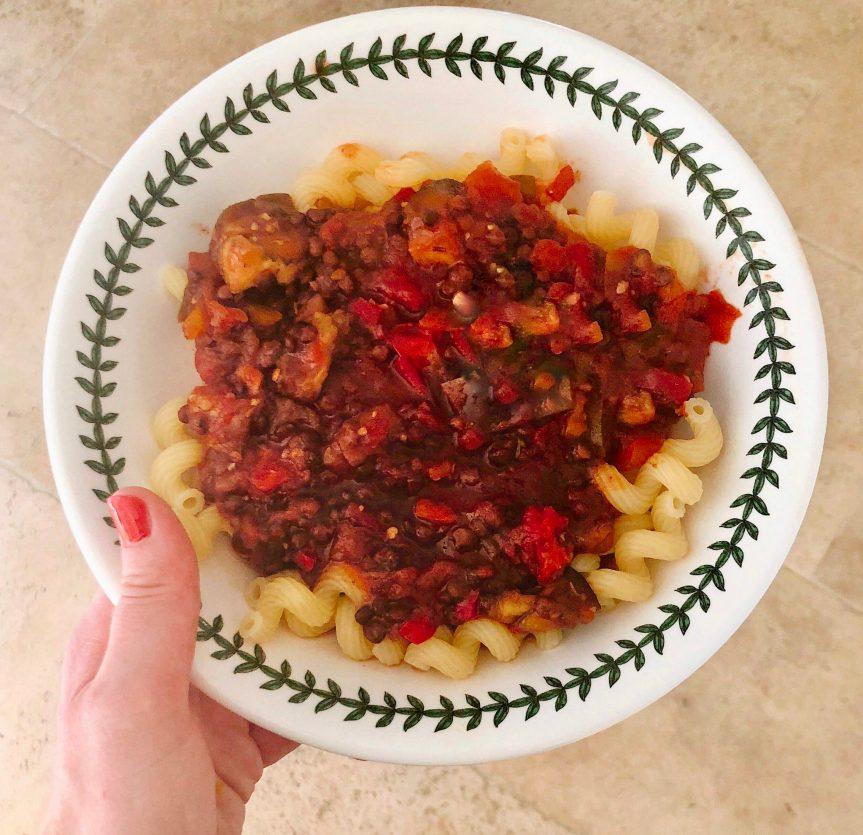 Slow Cooker Aubergine & Lentil Pasta