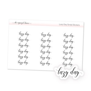 Lazy Day Script Stickers