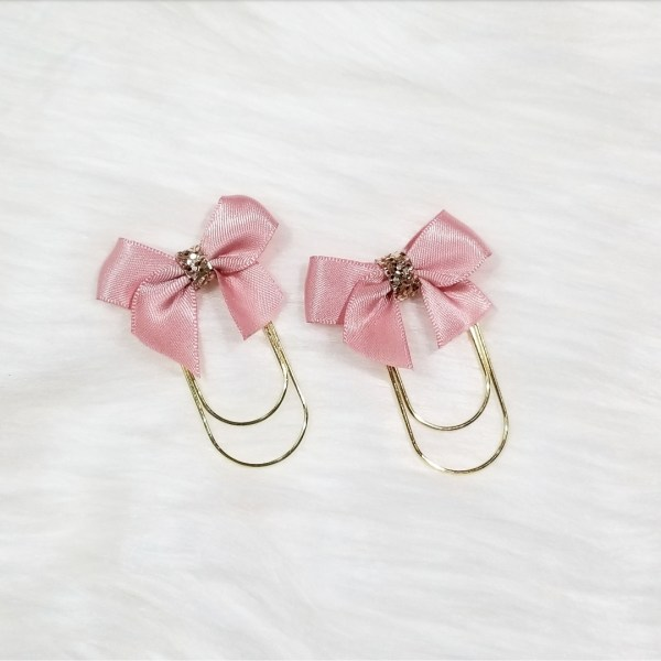 Blush Pink Glam Bow Clip Set