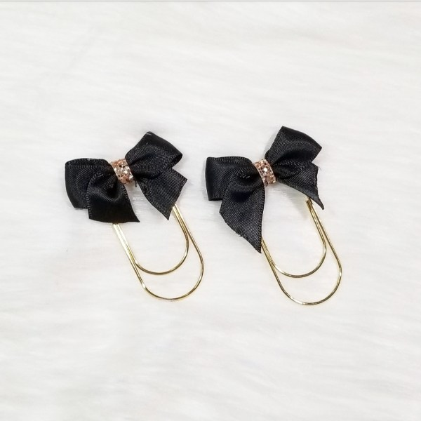 Black Glam Bow Clip Set