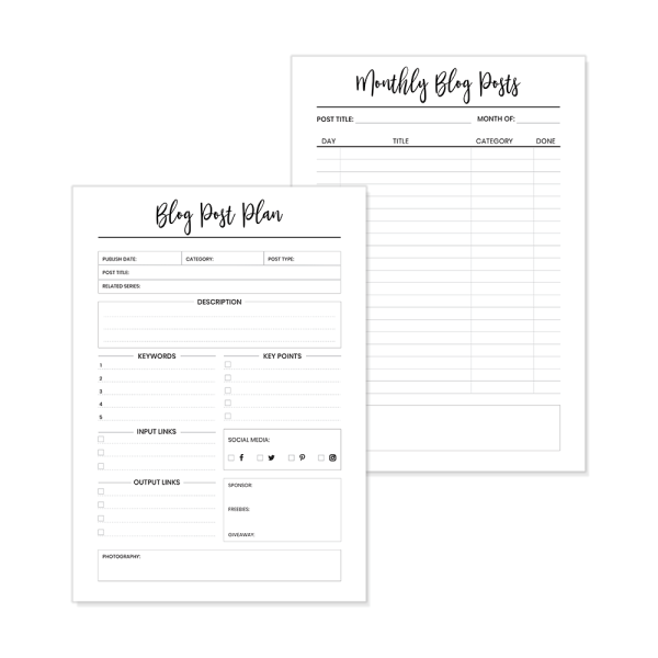 Blog Post Planner Pages